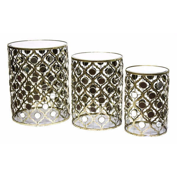Arabesque accent tables, Aged Gold, Set of 3