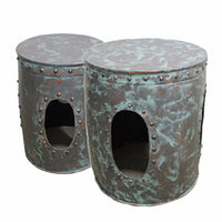 Distressed Metal Accent tables,  Green, Set of 2