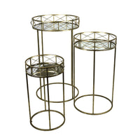 Appealing and Flashy Set of 3 Metal Accent Tables, Gold