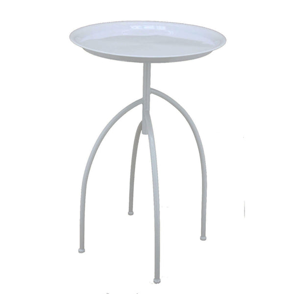 Downrightly Elegant Metal Accent Table, White