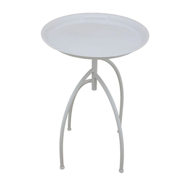Elegantly Styled Metal Accent Table, White