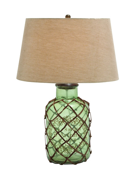 Translucent Glass Table Lamp with Netted Leather