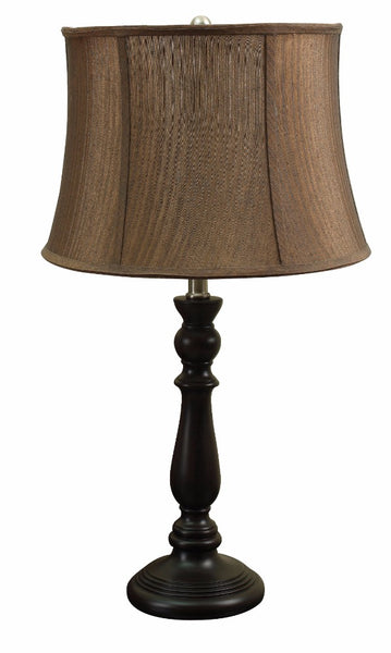 Traditional Poly Resin Table Lamp, Brown, Set of 2