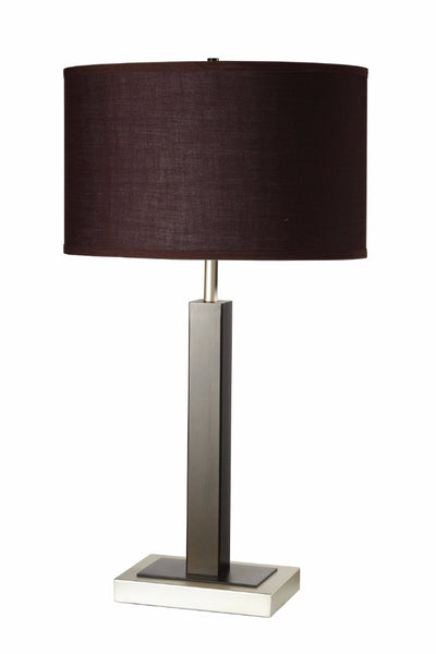 Contemporary Metal Table Lamp, Brown & Silver, Set of 2