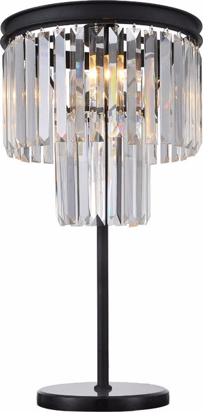 Elegantly Charmed  Metal Table Lamp With Crystal Hangings, Black