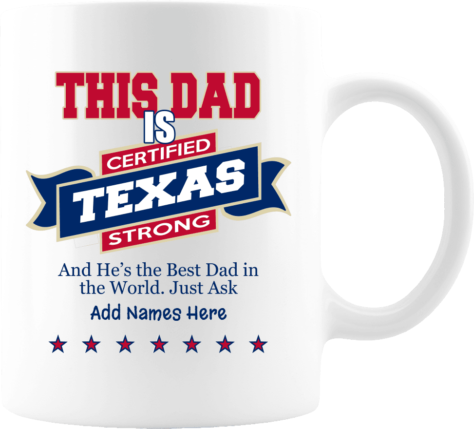 """Texas Strong"" Premium Personalized 11 oz Coffee Mug - White"