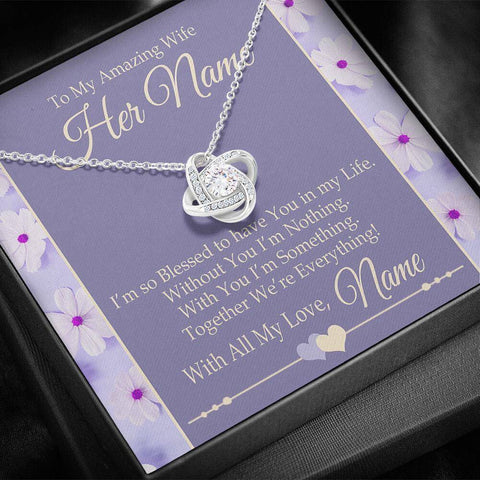 "Image of Bella Fields - ""To My Amazing Wife"" Luxury Love knot Necklace and Personalized Message Card"