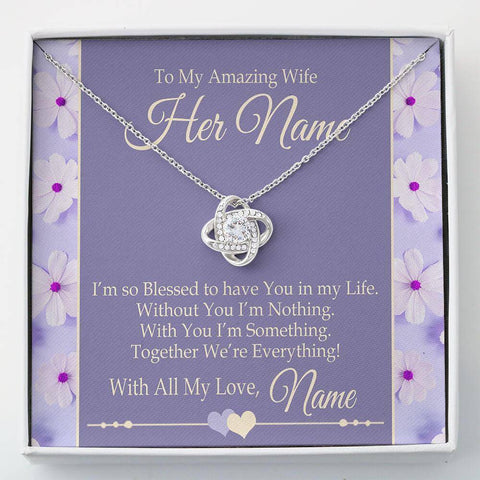 "Bella Fields - ""To My Amazing Wife"" Luxury Love knot Necklace and Personalized Message Card"