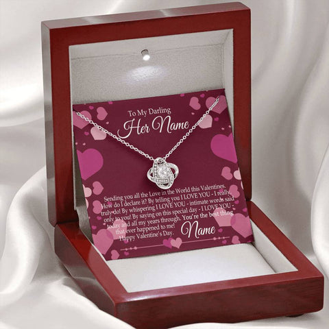 Valentine's Day Love Knot Necklace and Personalized Message Card