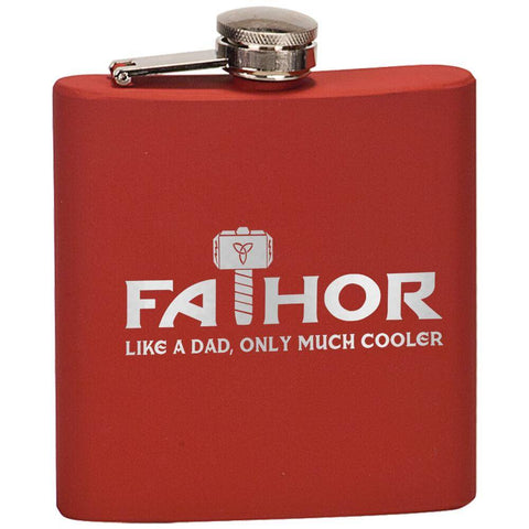 """FaThor"" Premium Laser Etched Hip Flask"
