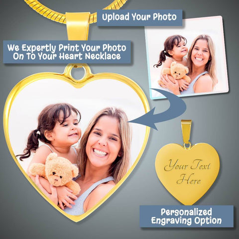 "Image of Bella Fields - ""Happy Memories"" Personalized Photo Print Luxury Gold Heart Necklace"