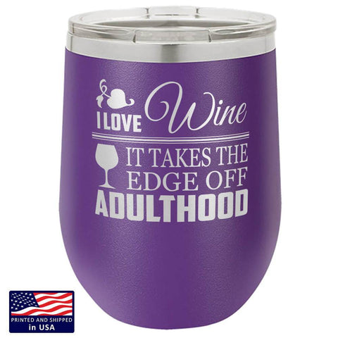 "Bella Fields - ""I Love Wine"" Premium Laser Etched Wine Tumbler"