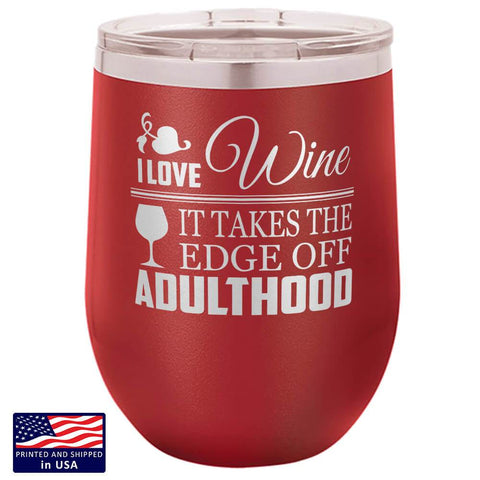 "Image of Bella Fields - ""I Love Wine"" Premium Laser Etched Wine Tumbler"