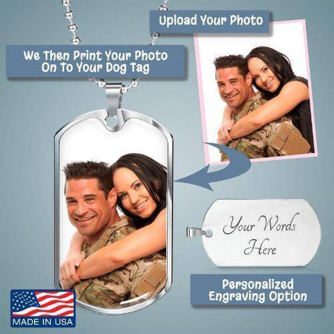 "Bella Fields - ""Keeping Memories Alive"" Personalized Photo Print Luxury Dog Tag"