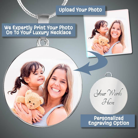 "Bella Fields - ""Treasured Memories"" Personalized Photo Print Luxury Necklace"