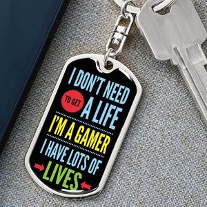 """I'm A Gamer"" Luxury Dog Tag Keychain"