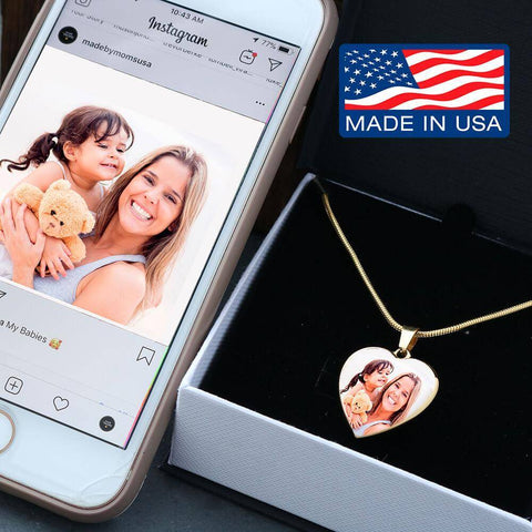 "Bella Fields - ""Happy Memories"" Personalized Photo Print Luxury Gold Heart Necklace"