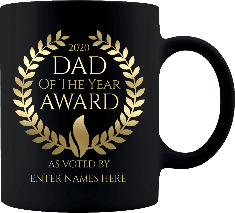 """Dad of the Year"" Premium Personalized 11 oz Coffee Mug"