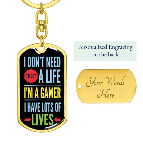 "Image of ""I'm A Gamer"" Luxury Dog Tag Keychain"