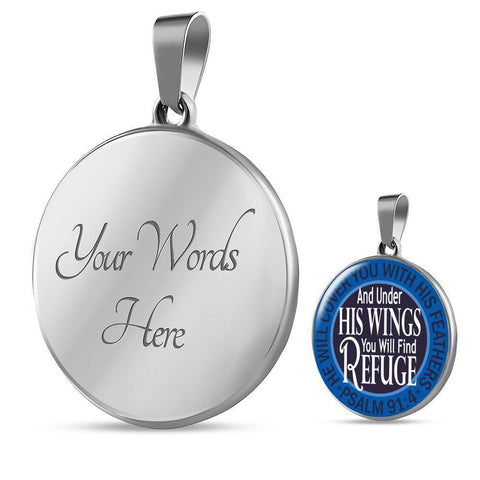 "Bella Fields - ""Under His Wings"" Luxury Psalm 91 Necklace in Sapphire Blue"