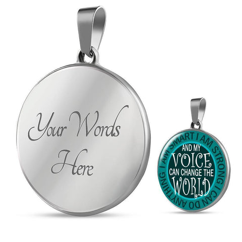 "Bella Fields - ""I Can Change the World"" Luxury Necklace in Teal Green"