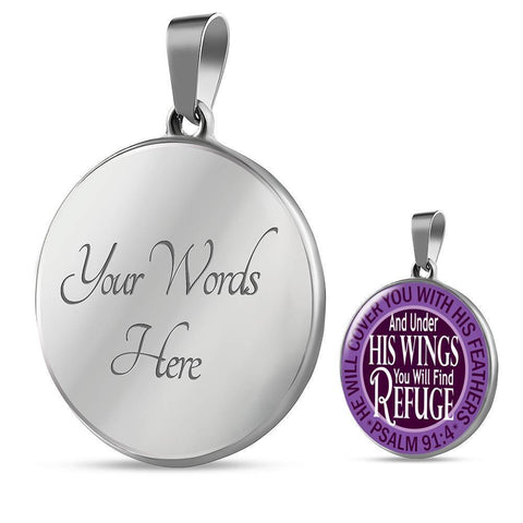 "Image of Bella Fields - ""Under His Wings"" Luxury Psalm 91 Necklace in Royal Purple"