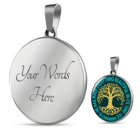 """Tree of Life"" Luxury Necklace in Teal Green"