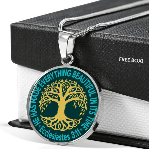 "Image of ""Tree of Life"" Luxury Necklace in Teal Green"