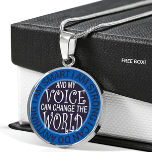 "Bella Fields - ""I Can Change the World"" Luxury Necklace in Sapphire Blue"