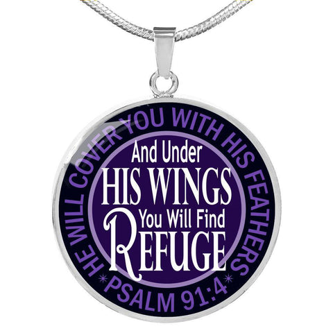 """Under His Wings"" Luxury Psalm 91 Necklace in Midnight Black"