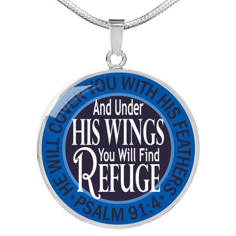 "Image of Bella Fields - ""Under His Wings"" Luxury Psalm 91 Necklace in Sapphire Blue"