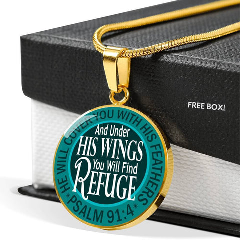 "Bella Fields - ""Under His Wings"" Luxury Psalm 91 Necklace in Teal Green"