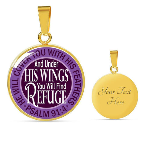 "Bella Fields - ""Under His Wings"" Luxury Psalm 91 Necklace in Royal Purple"