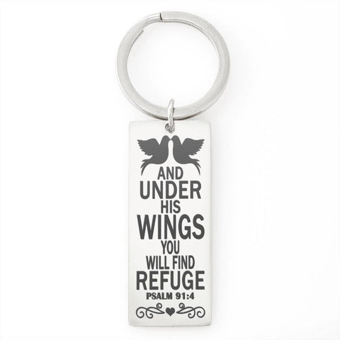 "Bella Fields - ""Under His WIngs"" Luxury Personalized Key Ring"