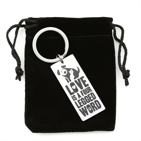 "Bella Fields - ""Love is a Four Legged Word"" Luxury Personalized Key Ring"