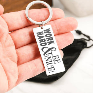 "Bella Fields - ""Work Hard Be Nice"" Luxury Personalized Key Ring"