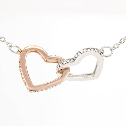 "Image of ""To My Wife - Happy Birthday"" Luxury Interlocking Heart Necklace and Message Card"