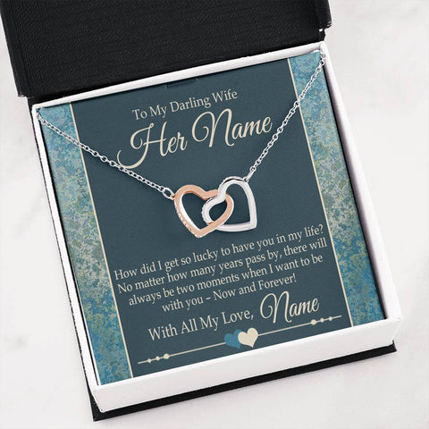 "Bella Fields - ""To My Darling Wife"" Luxury Interlocking Hearts Necklace and Personalized Message Card"
