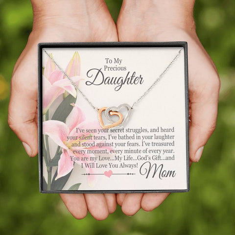 """To My Precious Daughter"" Luxury Interlocking Heart Necklace and Message Card"