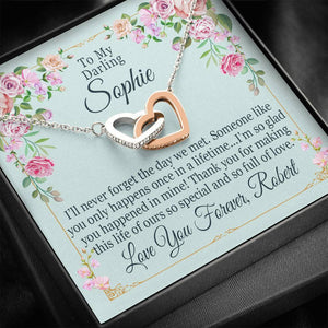 """To My Darling Wife"" Personalized Luxury Interlocking Hearts Necklace"