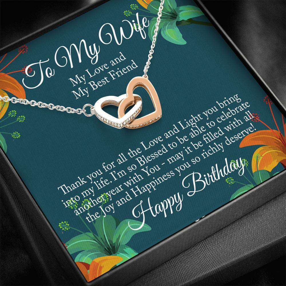 "Bella Fields - ""To My Wife - Happy Birthday"" Luxury Interlocking Heart Necklace and Message Card"