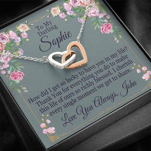 """To My Darling"" Personalized Luxury Interlocking Hearts Necklace"