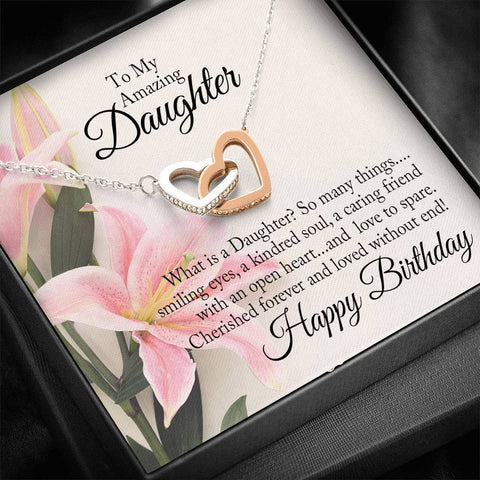 "Bella Fields - ""To My Daughter - Happy Birthday"" Luxury Interlocking Heart Necklace and Message Card"