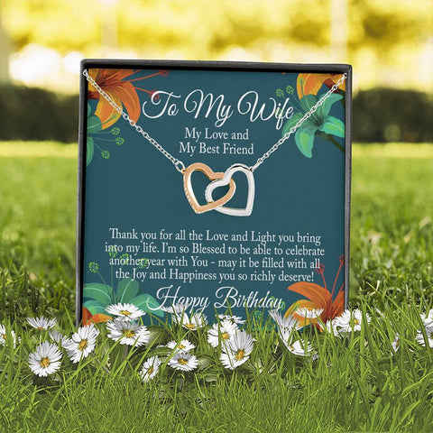 "Image of Bella Fields - ""To My Wife - Happy Birthday"" Luxury Interlocking Heart Necklace and Message Card"