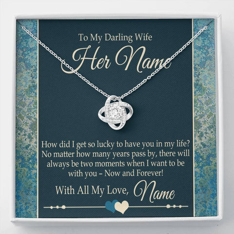 "Bella Fields - ""To My Darling Wife"" Luxury Love Knot Necklace and Personalized Message Card"