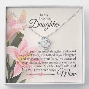 "Bella Fields - ""To My Precious Daughter"" Luxury Love Knot Necklace and Message Card"