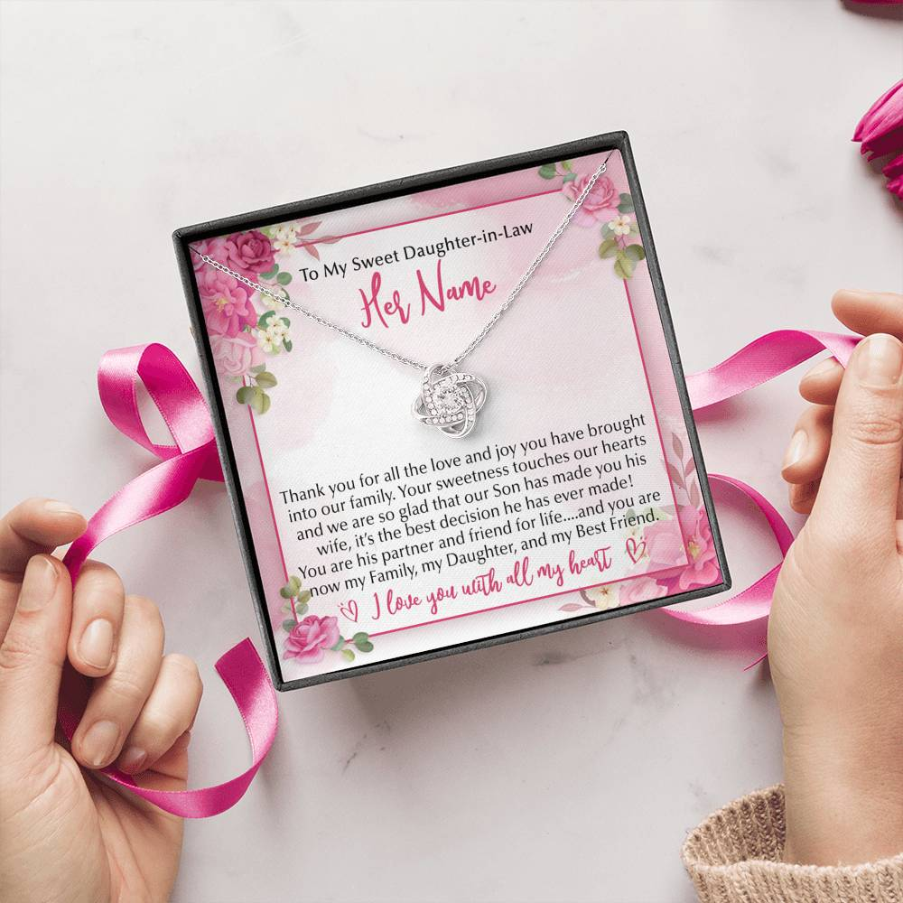 """To My Precious Daughter"" Luxury Love Knot Necklace and Personalized Message Card"