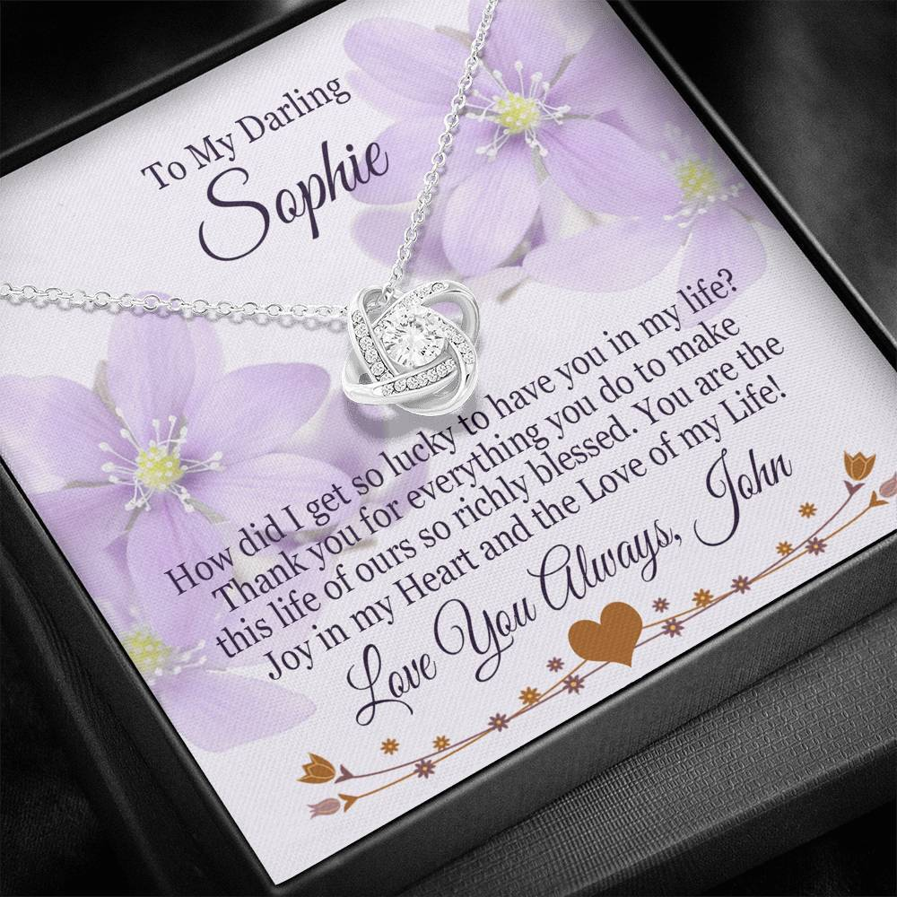 "Bella Fields - ""Love of My Life"" Luxury Personalized Love Knot Necklace"