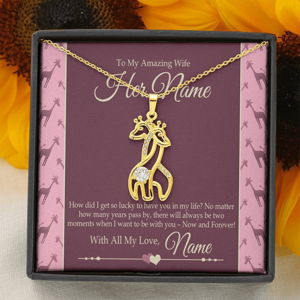 "Bella Fields - ""To My Amazing Wife"" Luxury Graceful Love Giraffe Necklace and Personalized Message Card"