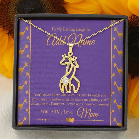"Bella Fields - ""To My Darling Daughter"" Luxury Graceful Love Giraffe Necklace and Personalized Message Card"